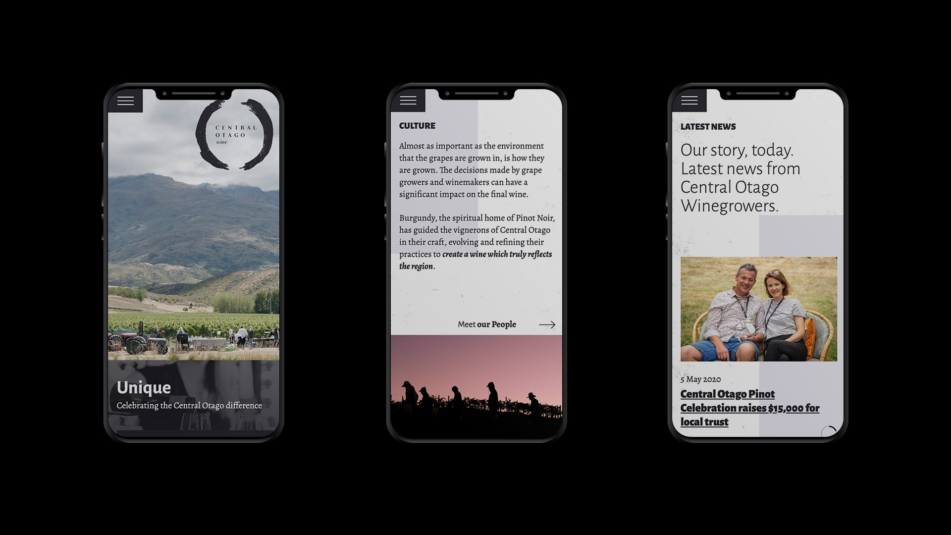 Central Otago Wine Website Mobile