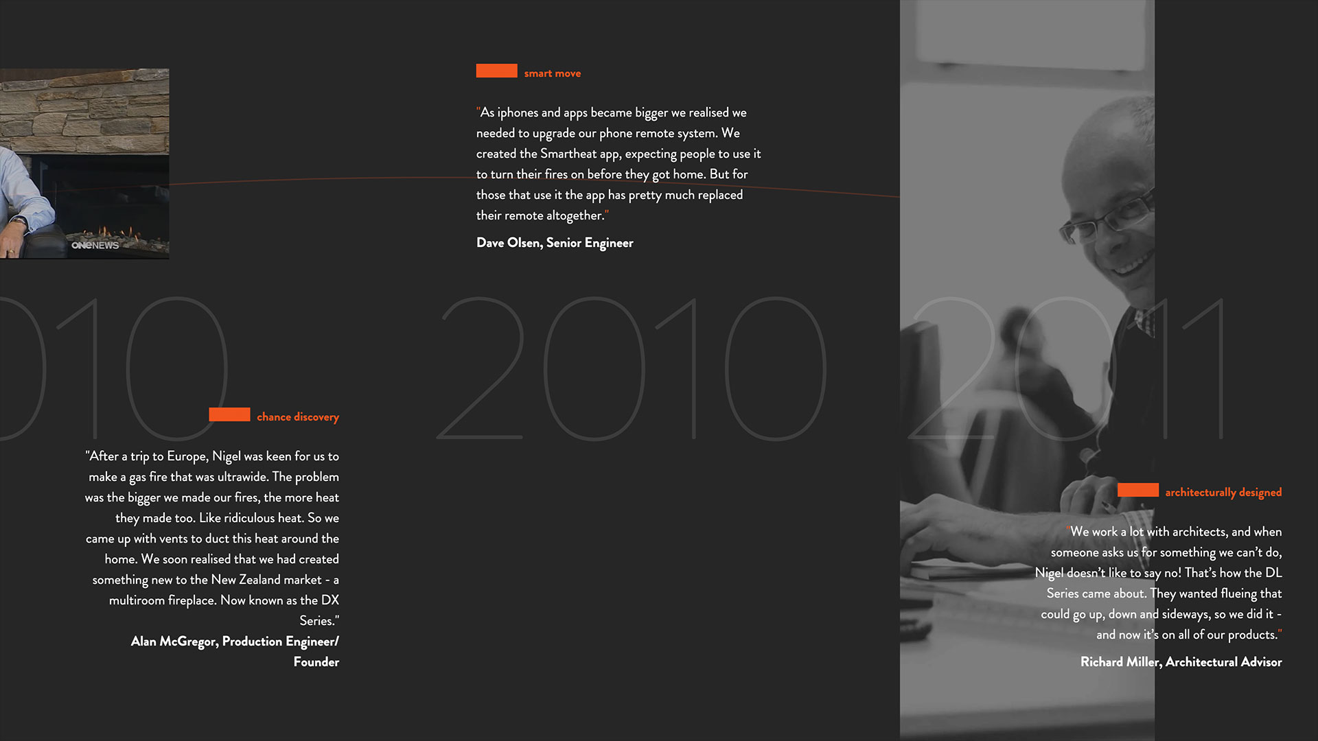 Escea website timeline