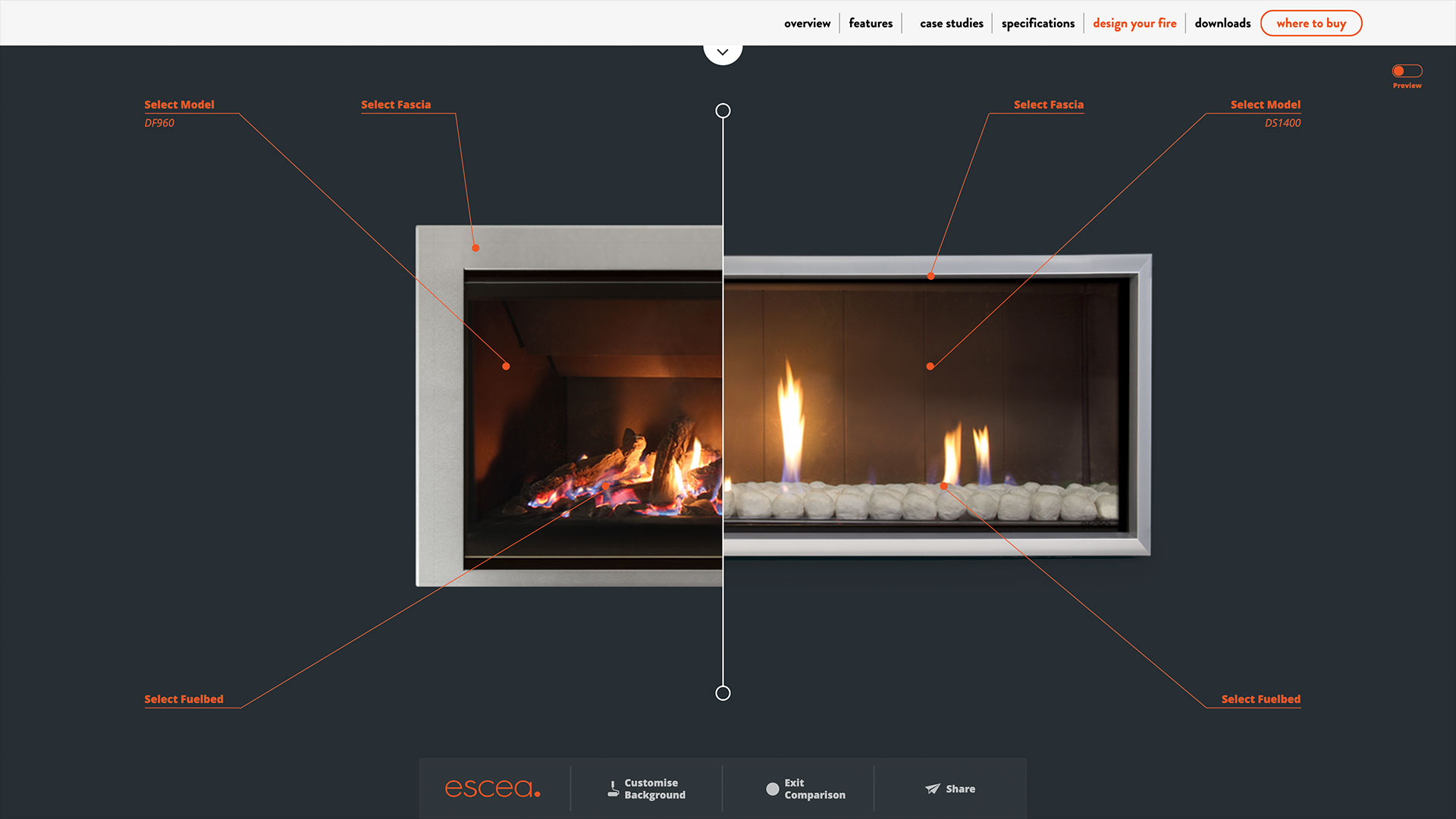 Escea website Design Your Fire web app